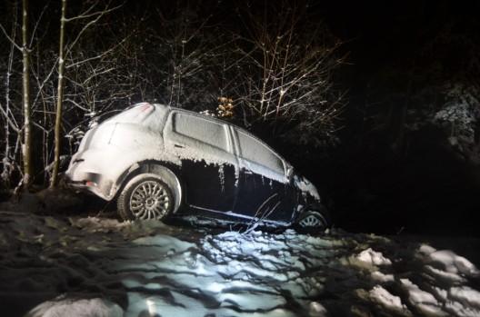 Trogen AR: Auto rutscht bei Schneetreiben gegen Waldböschung
