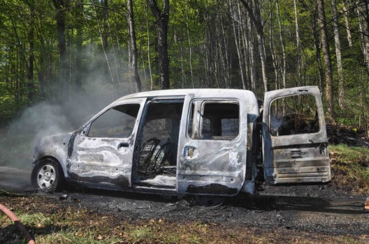 Günsberg SO: Auto auf einem Waldweg völlig ausgebrannt