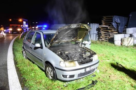 Mörschwil SG / A1: Auto auf der Autobahn in Brand geraten