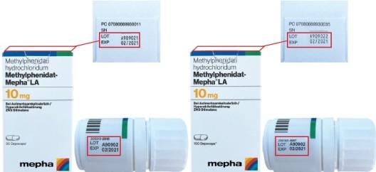 Zwei Chargen von Methylphenidat-Mepha LA 10 mg Depocaps zurückgerufen