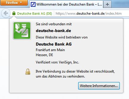 Extended-Validation-Zertifikat der Website der Deutschen Bank AG.