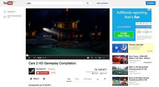 Das selbe Video ohne Werbung