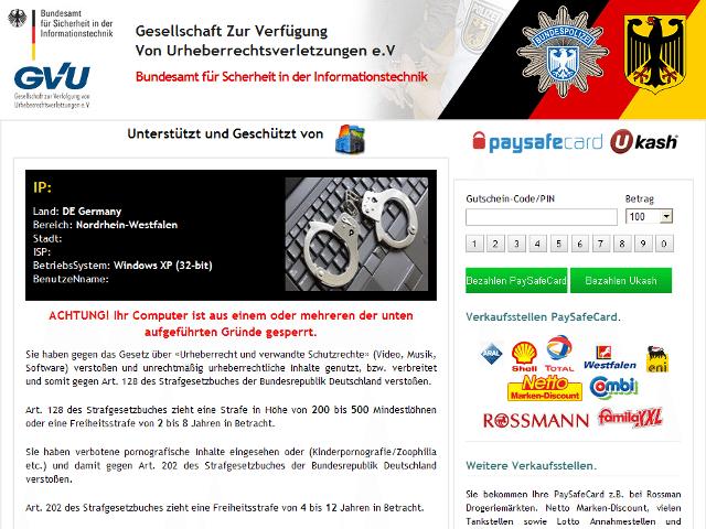 GVU-Trojaner / BSI-Trojaner. Zum Vergrössern klicken. (Quelle: bka-trojaner.de)
