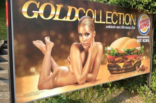 Auch Burger King macht eine Frau zum Produkt.