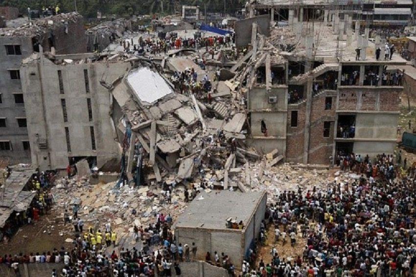 Die eingestützte Textilfabrik in Dhaka, Bangladesch.