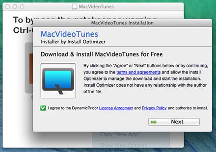 """Im weiteren Verlauf der MacVideoTunes-Installation soll ein unbekannter """"Optimizer"""" installiert werden. (Bild: Screenshot Dr. Web)"""