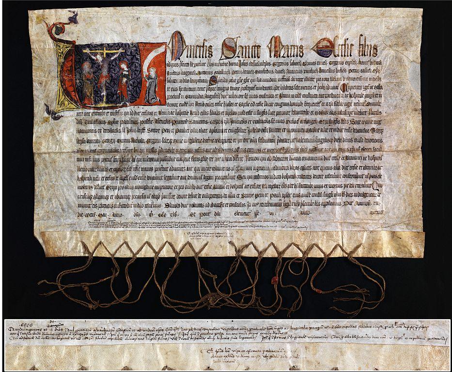 Ablassbrief aus dem Jahr 1345. (Urheber: Unbekannt / Wikimedia / Gemeinfrei)