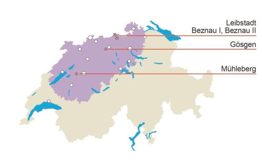 Die betroffenen Regionen im 50 km-Umkreis um Atomkraftwerke. (Bildquelle: LBA)