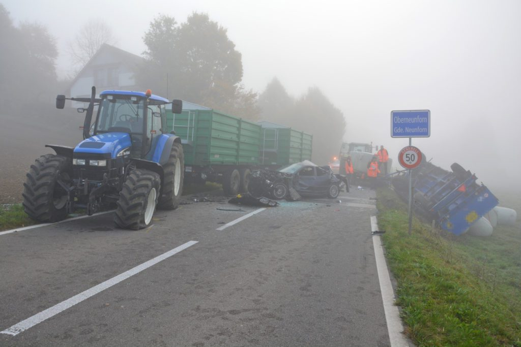 Verkehrsunfall in Oberneunforn (Bild: Kantonspolizei Thurgau)