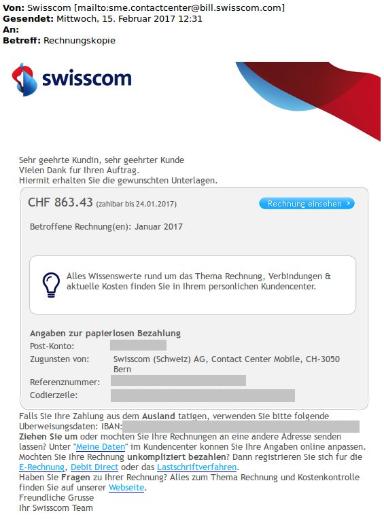 Gefälschte Swisscom Rechnungen, mit denen Angreifer im Februar 2017 versucht haben, die Schadsoftware Dridex zu verbreiten