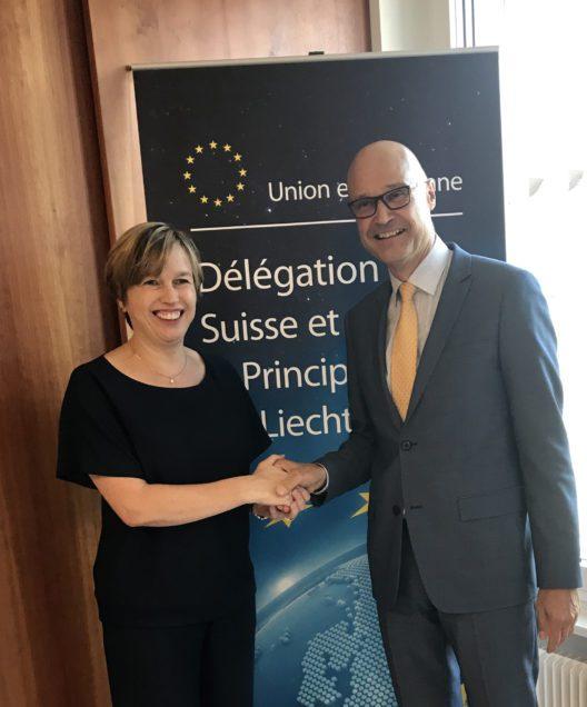 Europol-Direktorin Catherine de Bolle und Polizeichef Jules Hoch