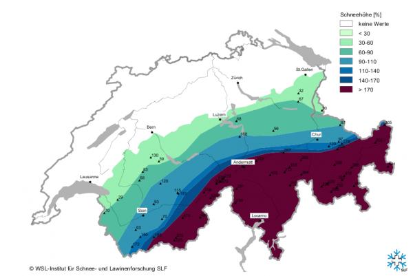 Schneehöhe im Vergleich zum langjährigen Mittel, Stand heute Morgen. (Quelle: SLF)