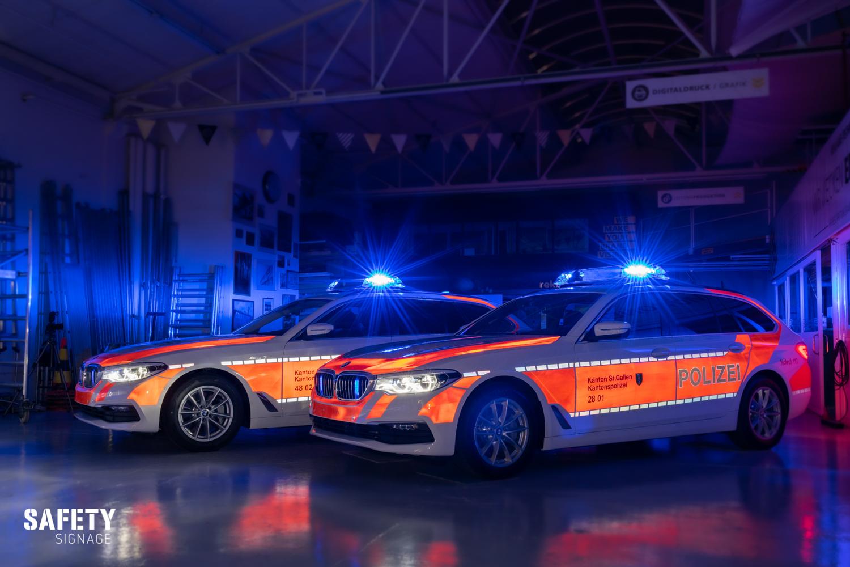 Polizei Patroullienfahrzeug BMW Kantonspolizei St.Gallen Highly Reflective