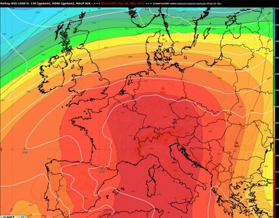 Prognose der relativen Topographie (1000 - 500 hPa) und Bodendruckverteilung für Dienstag, 30. März 2021